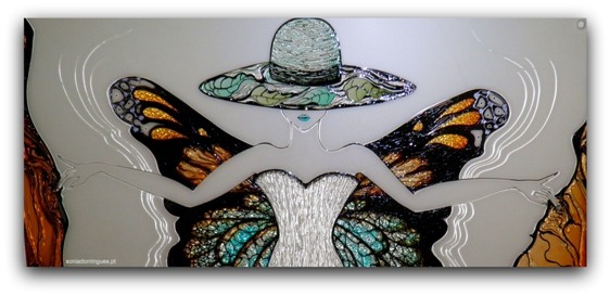 Stained Glass - Sculptural Lady Butterfly - Details