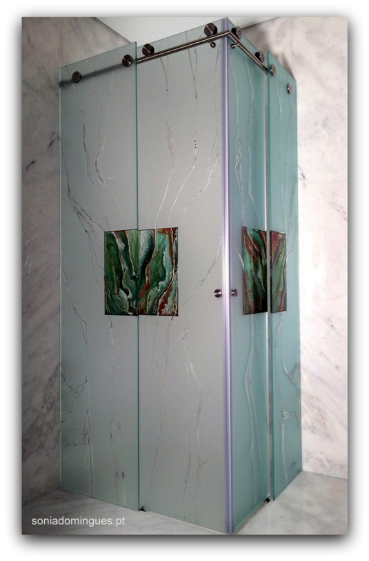 Stained Glass - Shower Guard - Guatemala Green Marble