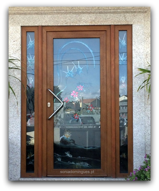 Exterior Door in Stained Glass - Flowers