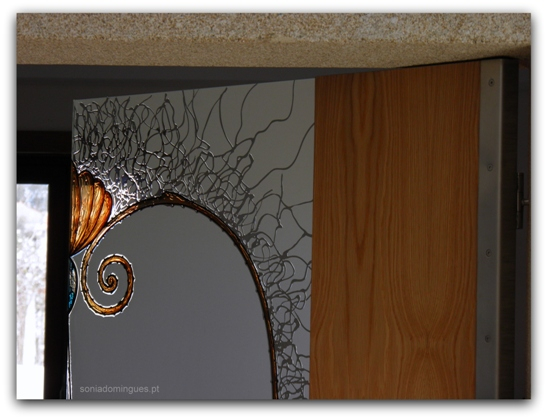 "Interior Doors in Stained Glass - ""Seashell with Crystal Effects"" - Details"
