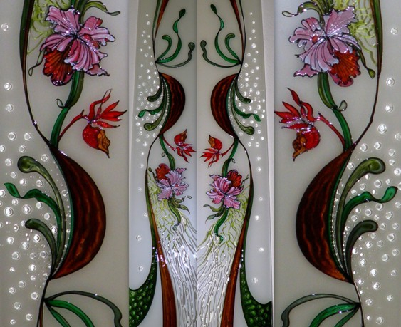 Stained Glass - Orchids + Green Interlaced & Wood Effects*