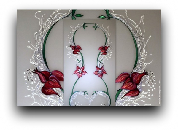 Stained Glass - Stylized Flower Rojo Rubi & Crystal Effects 1st