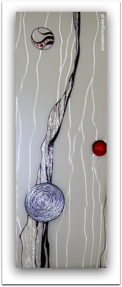 Stained Glass -Vibrant Spheres Orbiting - Black, Silver & Rubi