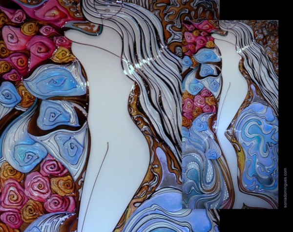 Stained Glass - Mermaid Wrapped in Roses