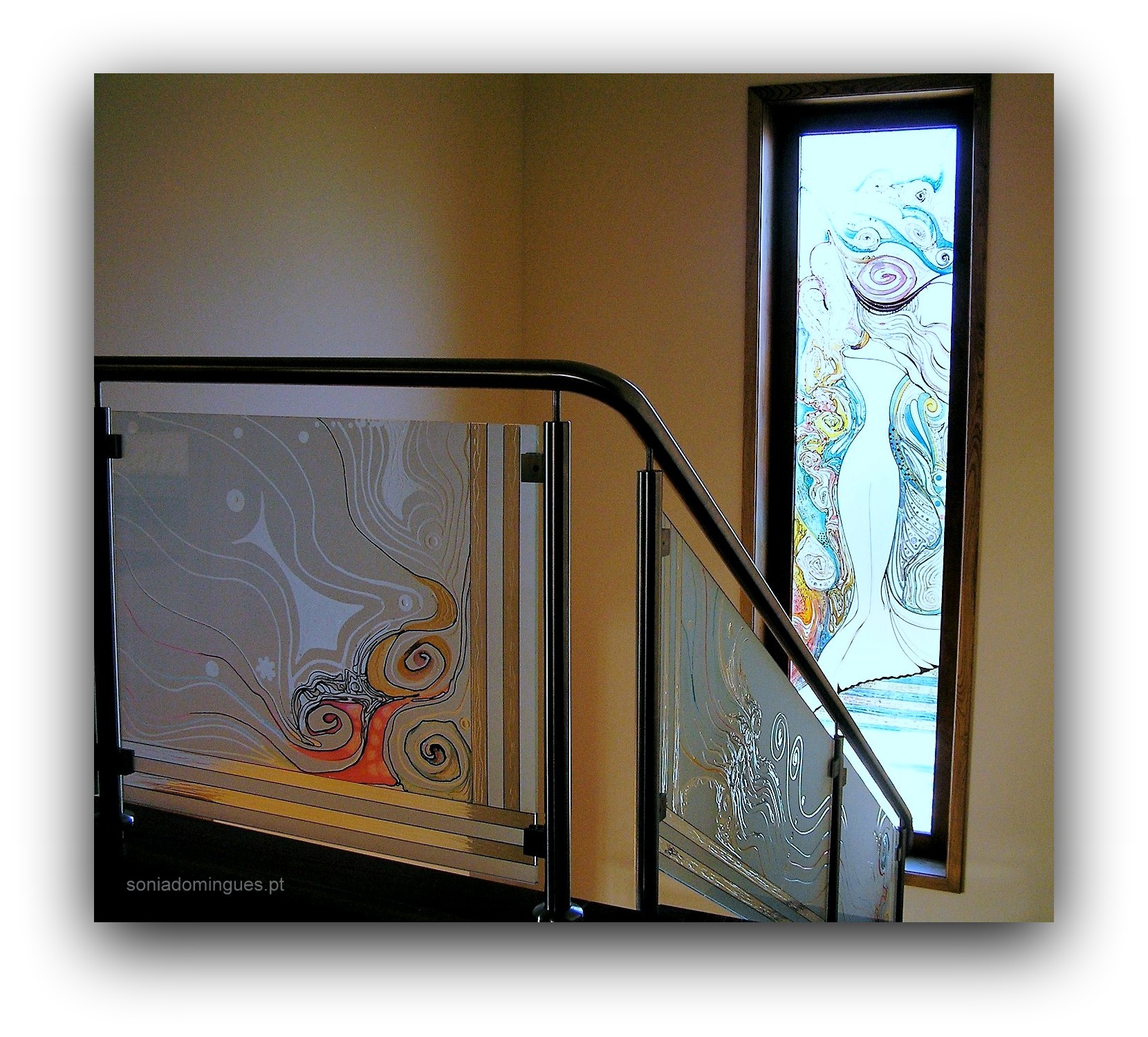 Stained Glass - Staircase - Sculptural Lady wrapped on Spiral Roses 1
