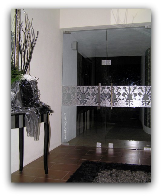 Exterior Doors in Stained Glass with Sets Logo KME & Filigree Effects - Night View