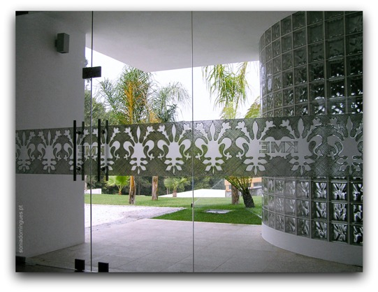 Exterior Doors in Stained Glass with Sets Logo KME & Filigree Effects - Day View