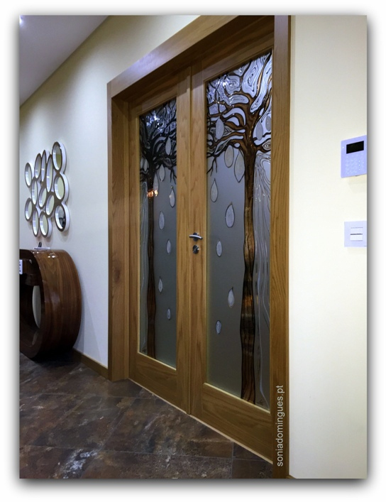 Interior Doors - Stained Glass - Baobab Tree - Abstract African Inspiration