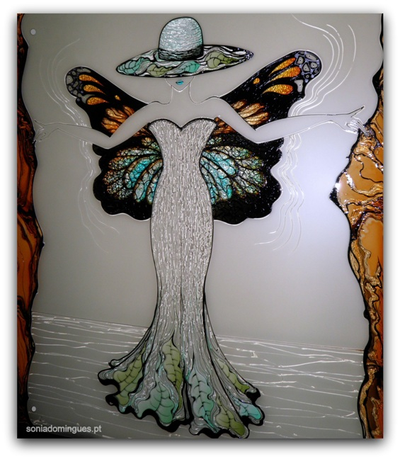 Stained Glass - Sculptural Lady Butterfly