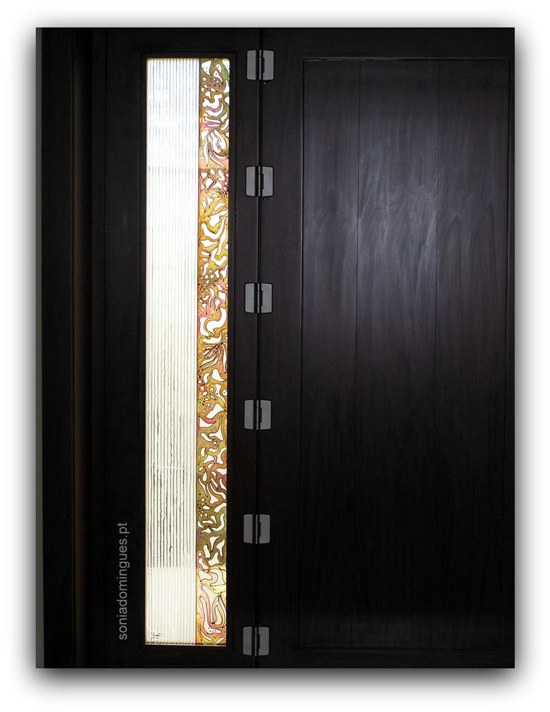 Stained Glass - Exterior Door -  Tracery of Warm Shades with vertical Silver
