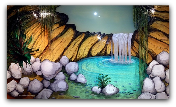 Stained Glass - Cascade in Tropical Scenery 1