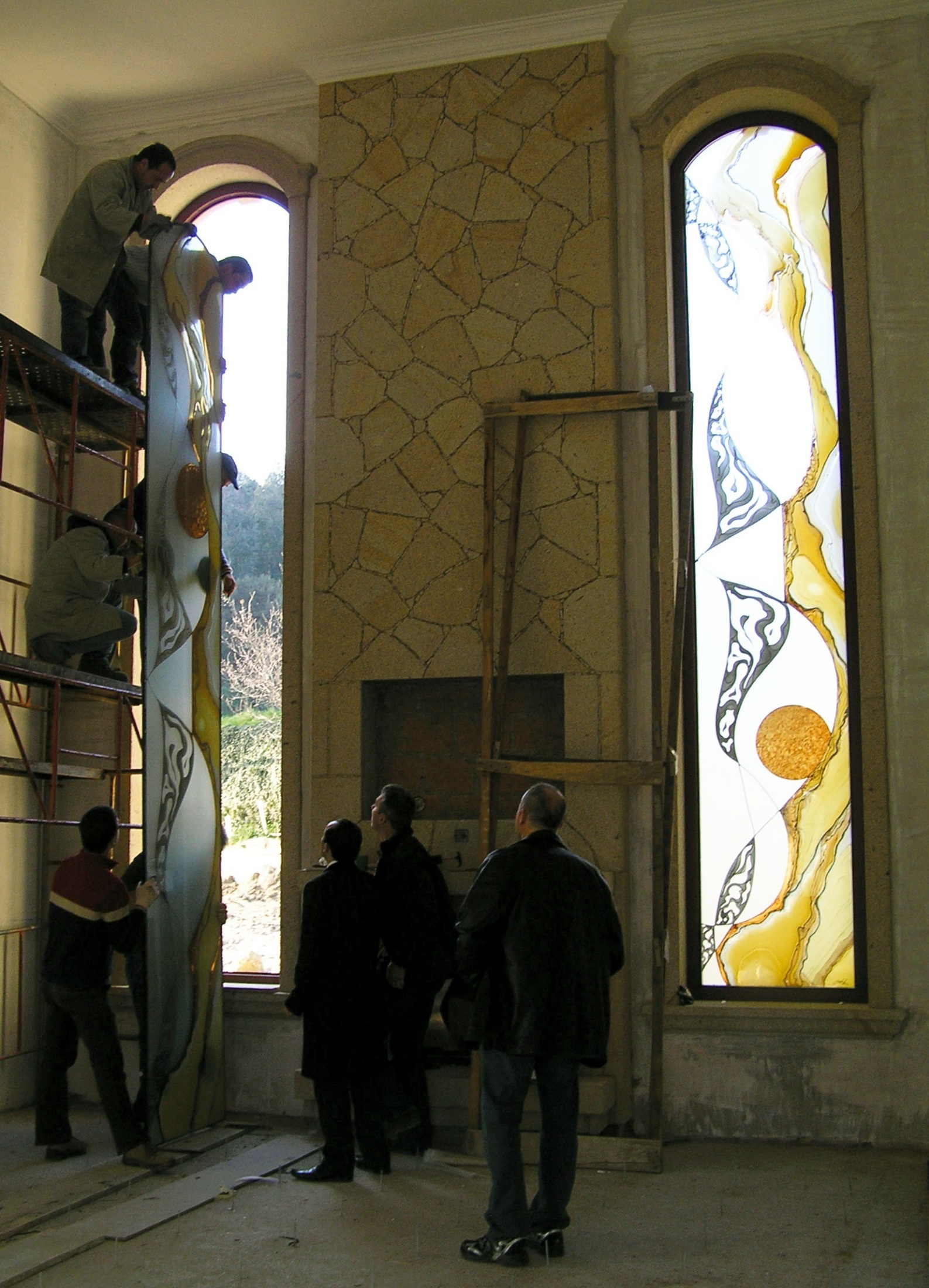 Backstage of 2 stained glass of big dimension by the master artist sonia domingues 11