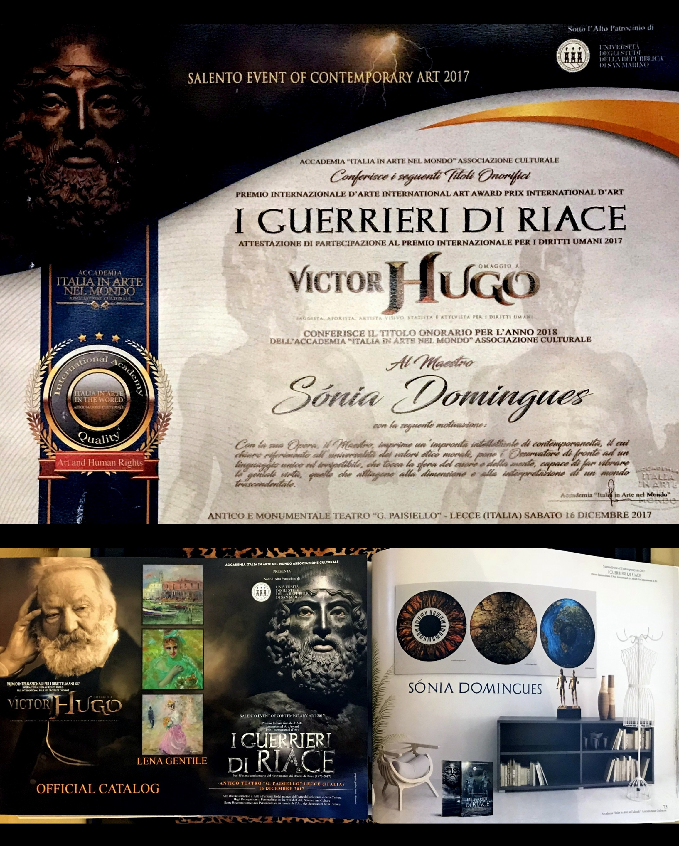 Warriors of Riace Award and Catalog to the Master Sonia Domingues